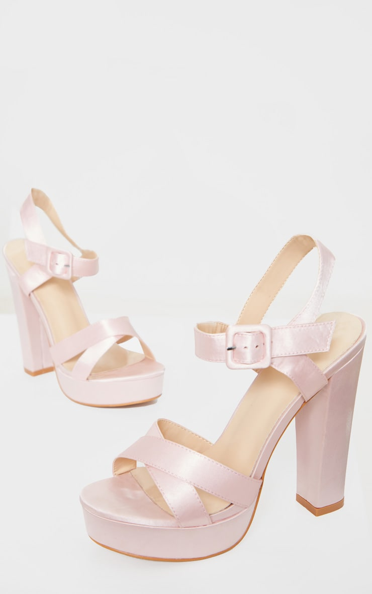 Nude Cross Strap Buckle Detail Platform Sandal 3