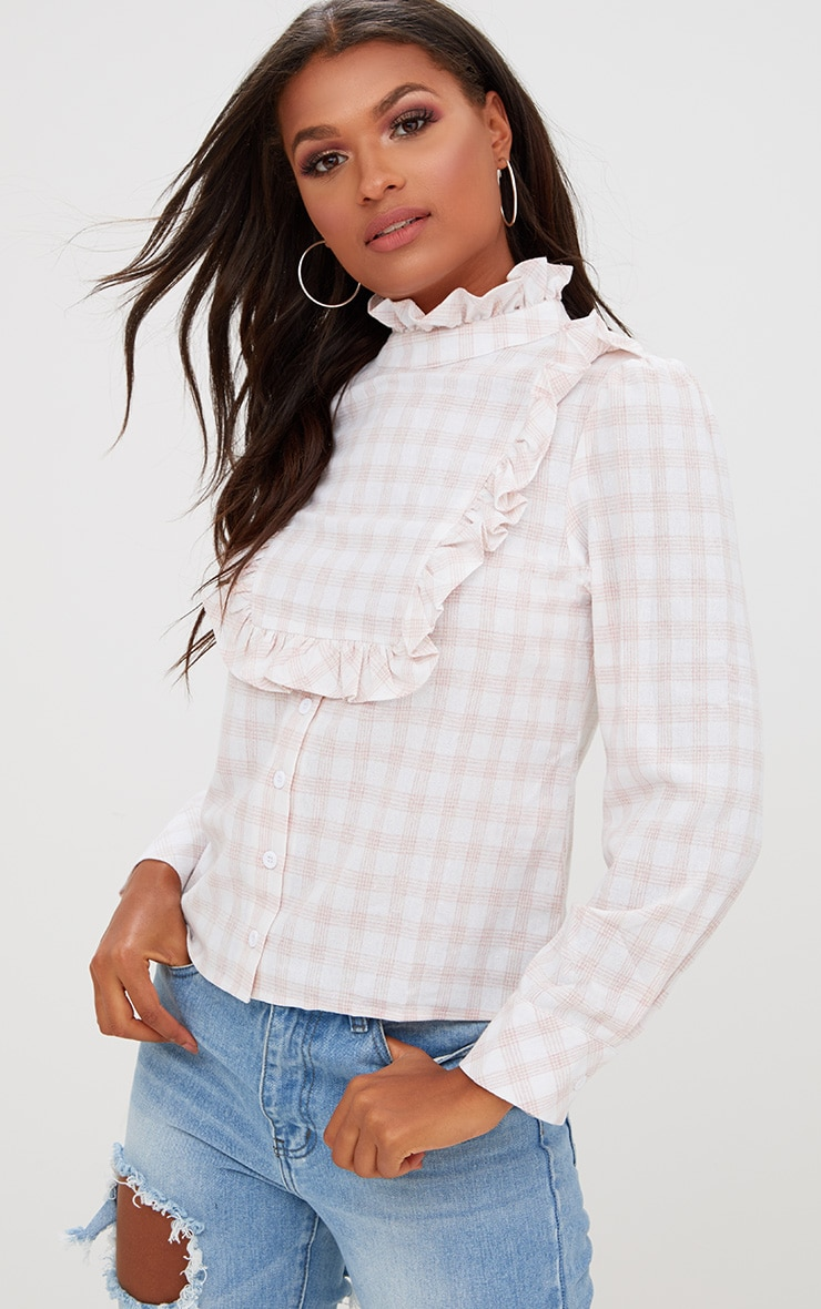 Pink Check Frill Neck Shirt 1