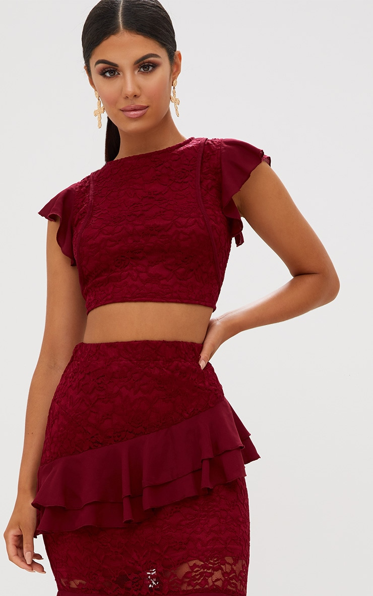 Burgundy Lace Frill Sleeve Detail Crop Top 2