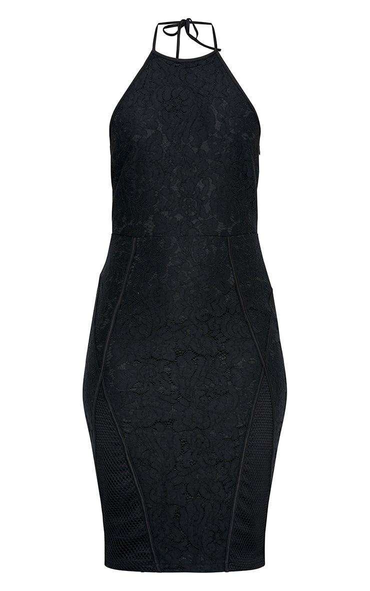 Black Lace Fishnet Panel Halterneck Midi Dress  3