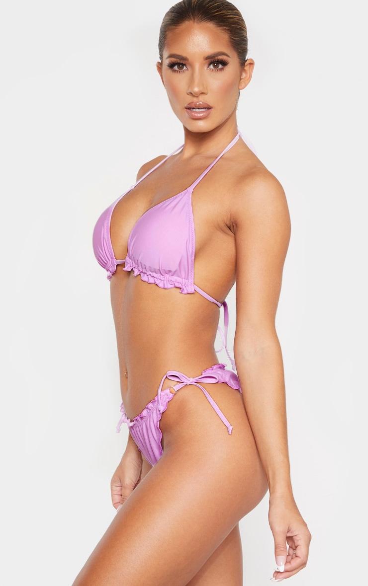 Bas de bikini lilas à ourlet volanté et détail froncé 2