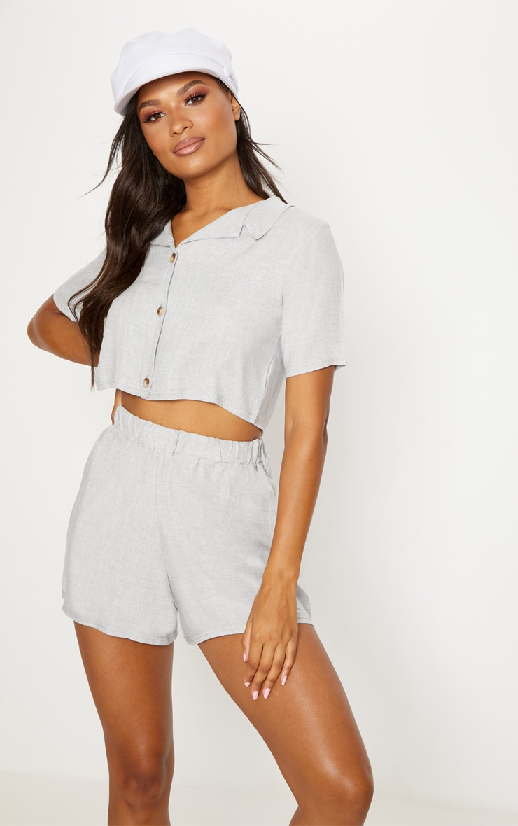 Grey Cropped Short Sleeve Button Shirt