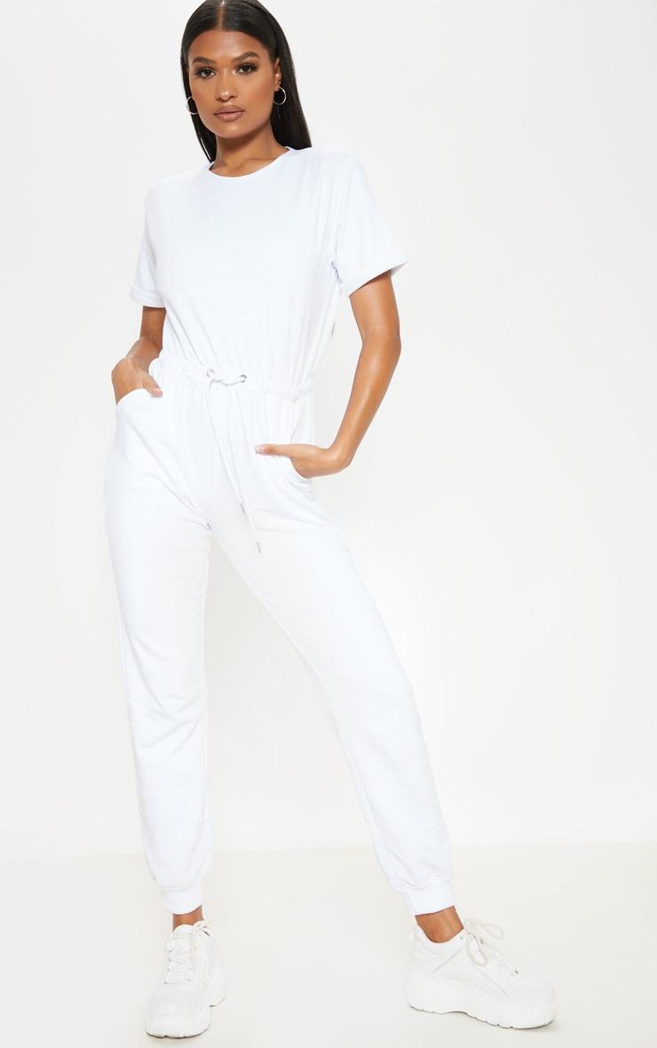 White Short Sleeve Sweat Jumpsuit  1