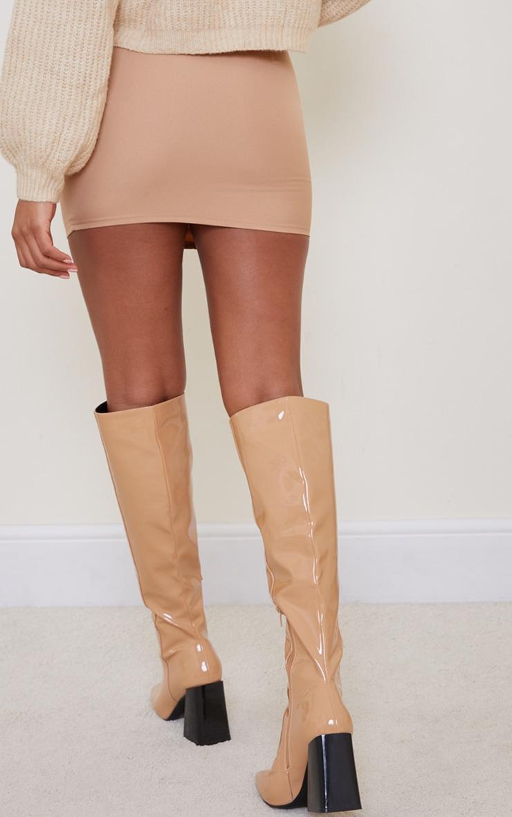 Camel Woven Seam Detail Mini Skirt 3