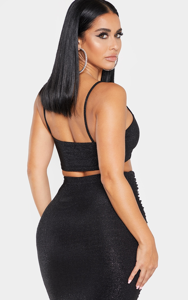 Shape Black Glitter Tie Front Strappy Crop Top 2