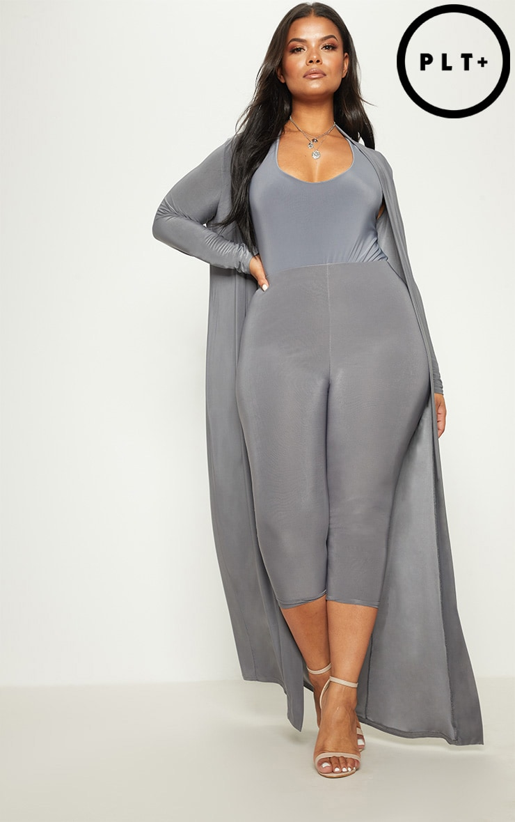 Plus Charcoal Slinky Duster Jacket 1
