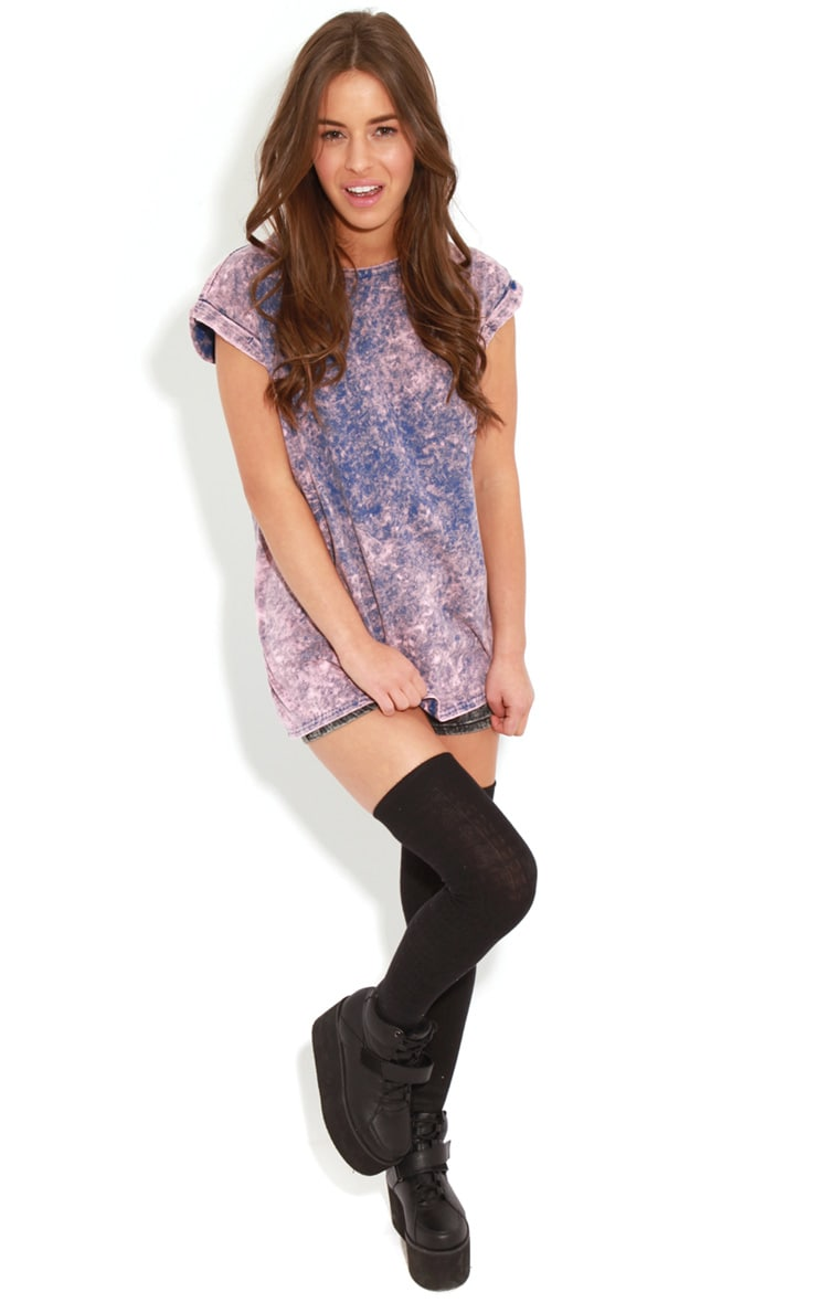 Anya Purple Acid Wash Oversize Tee 3