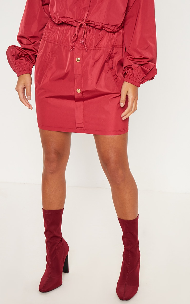 Petite Burgundy Shell Suit Mini Skirt 2