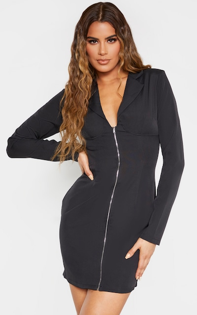 Tall Black Corset Detail Zip Long Sleeve Dress