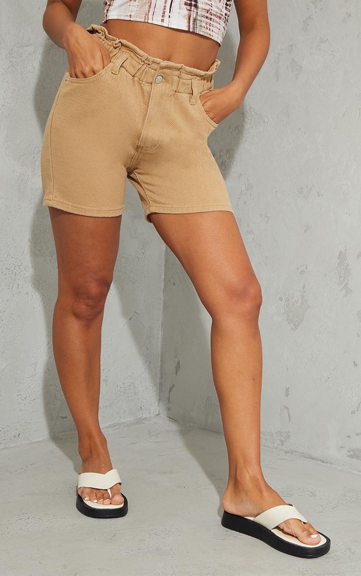 Tan Paperbag Waist Shorts 2