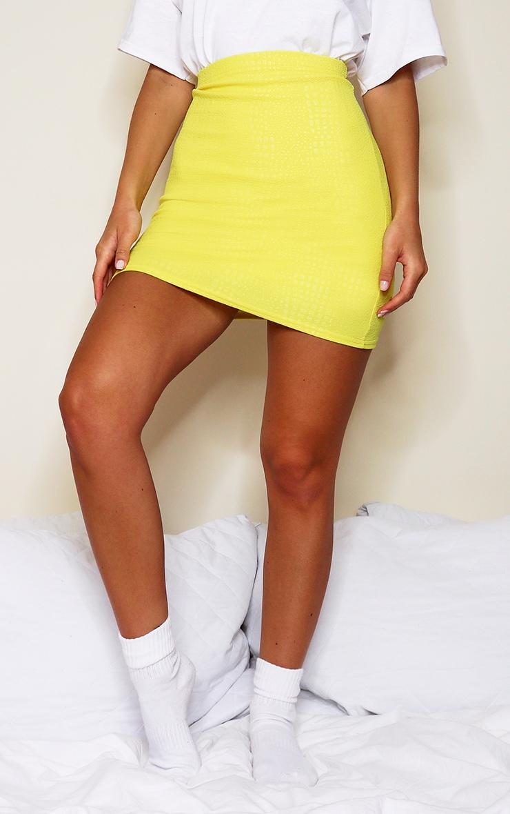 Yellow Croc Print Bodycon Mini Skirt 2