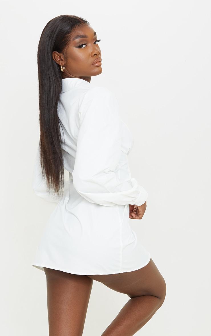 Tall White Corset Detail Long Sleeve Shirt Dress  2