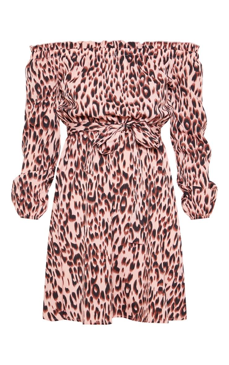 Pink Leopard Print Satin Tie Bardot Dress 3