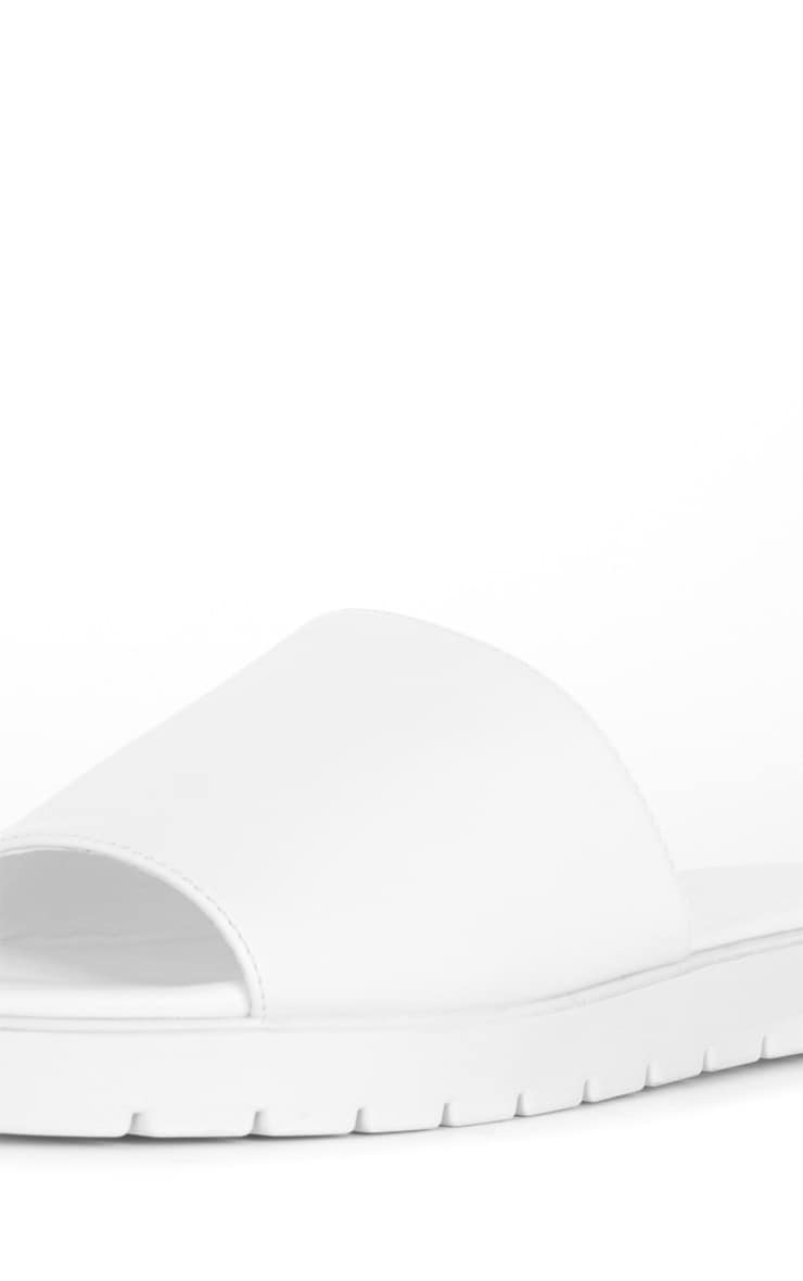 Amelie White Leather Slider  4