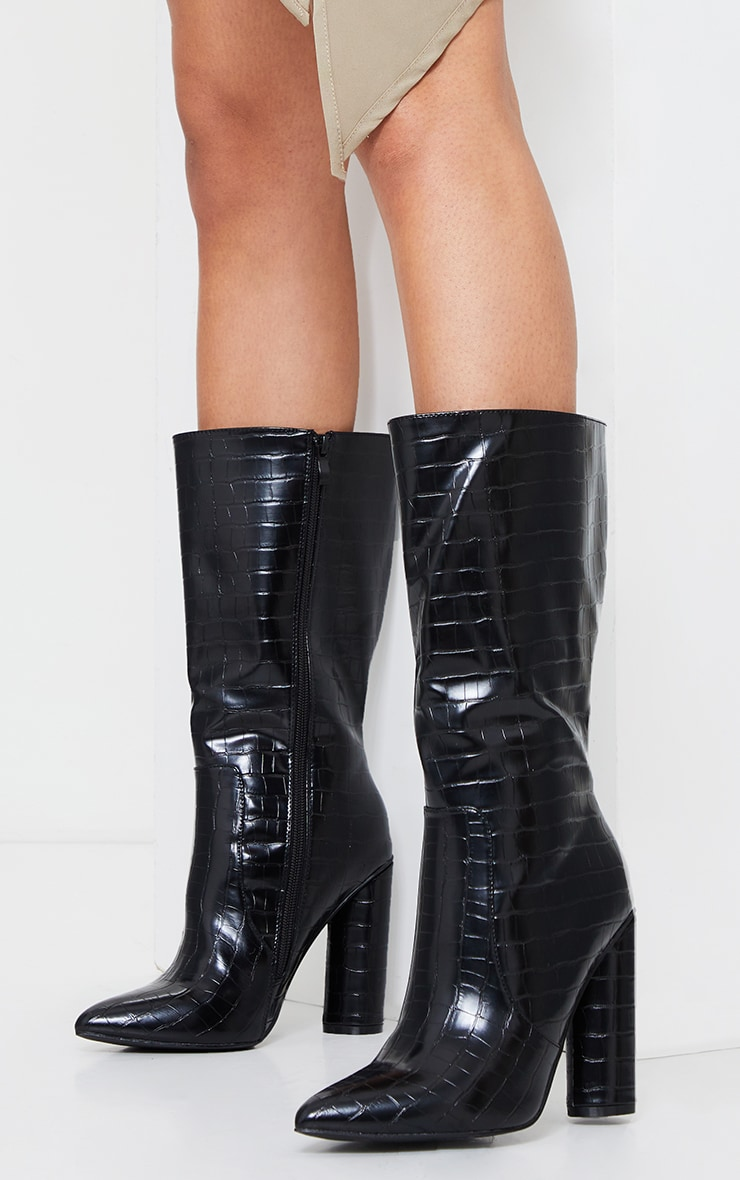 Black Croc Point Toe Round Heel High Calf Boot 2