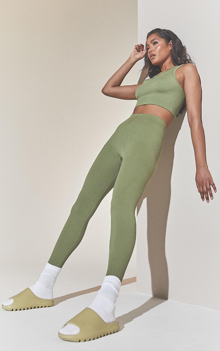 Khaki Structured Contour Ribbed Leggings image 1