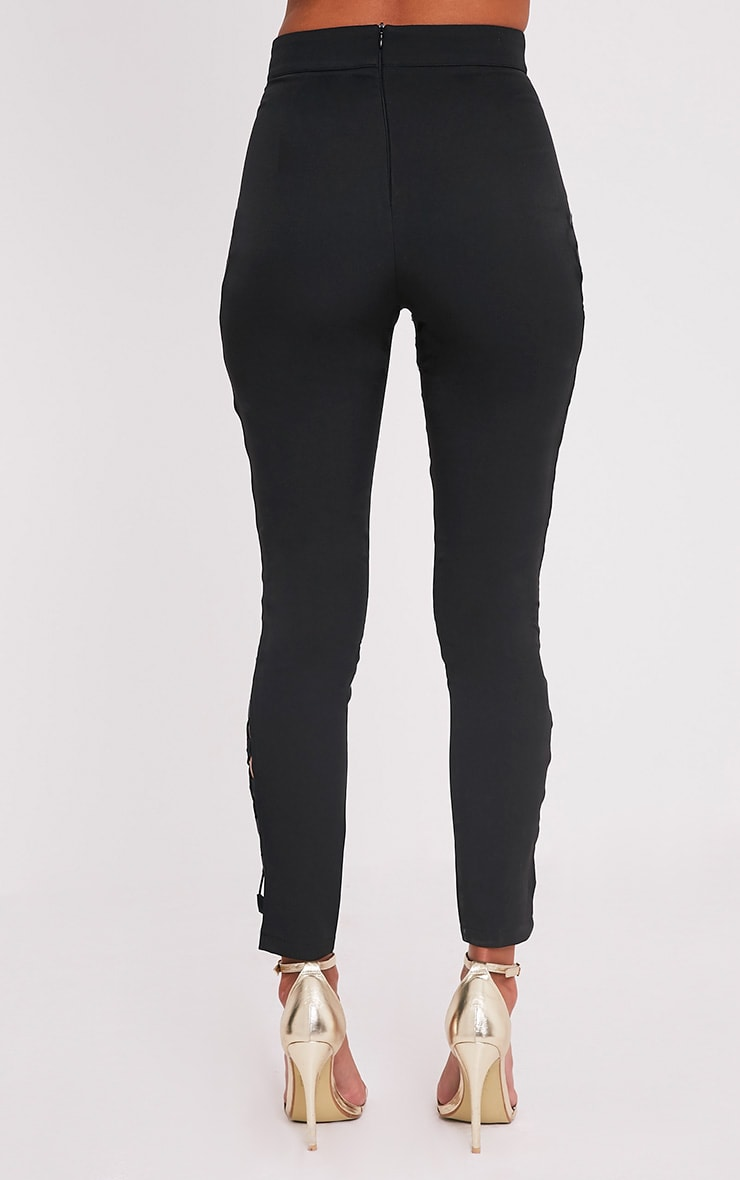 Anetta Black Lace Up Side Skinny Trousers 5