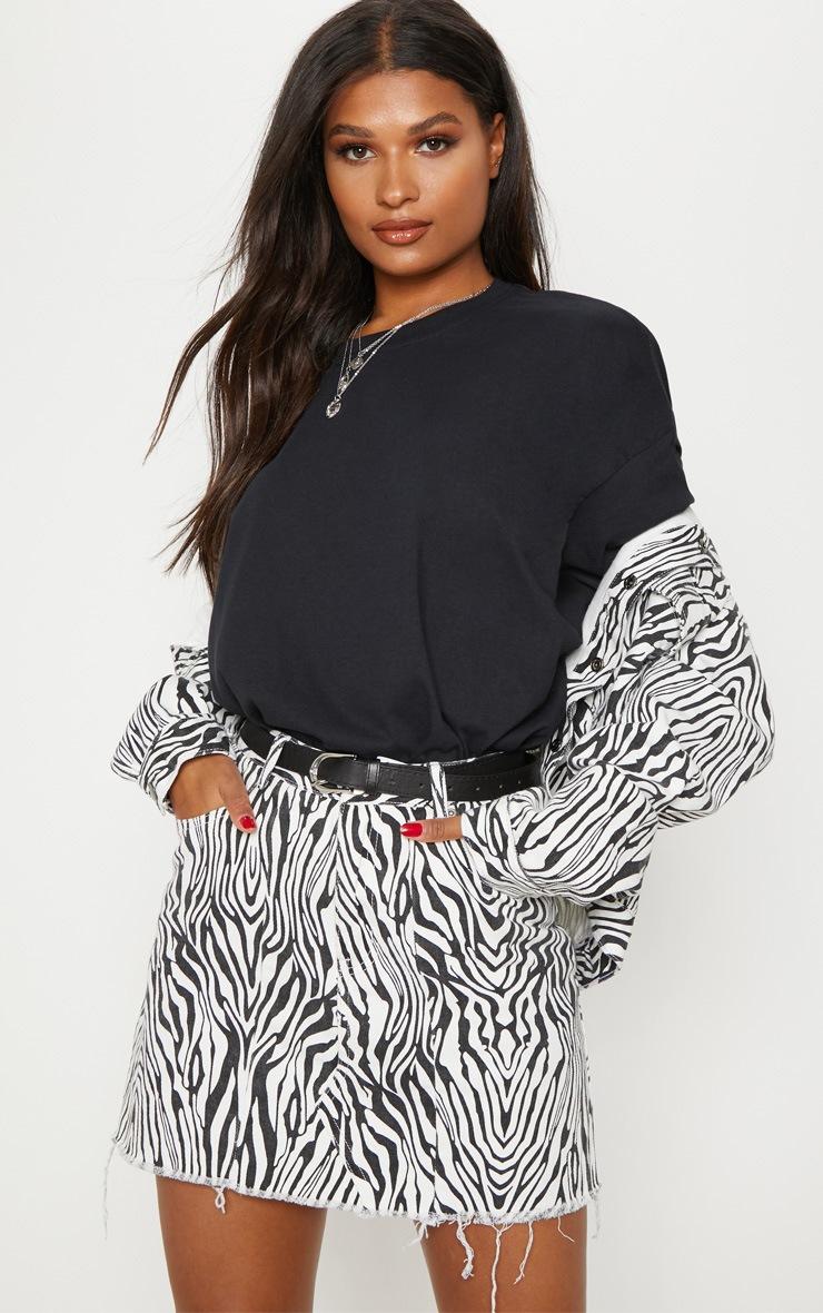 Monochrome Basic Zebra Print Denim Skirt 2