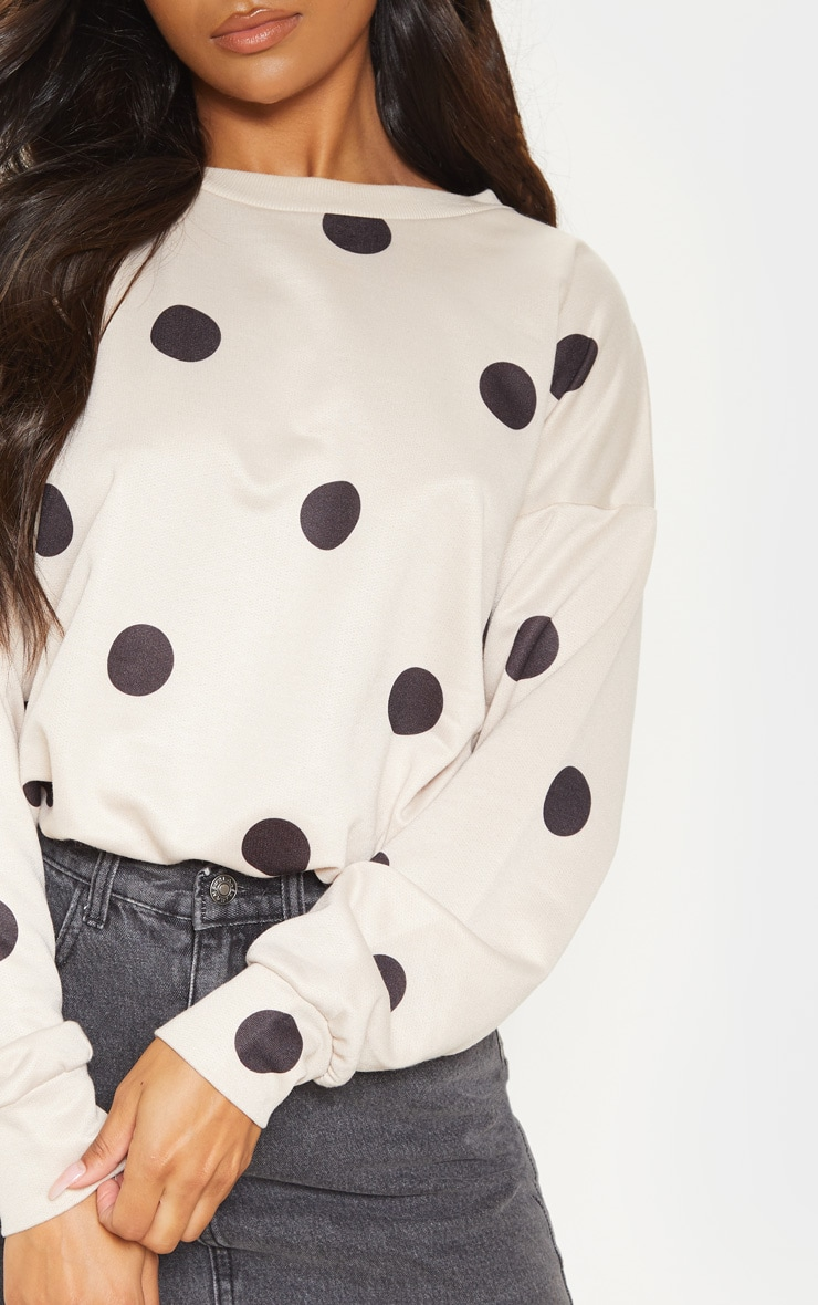 Nude Polka Dot Printed Oversized Sweater 5