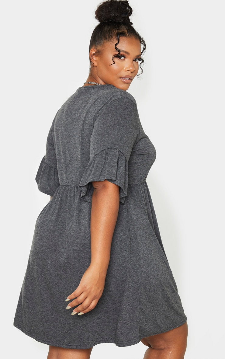 Plus Charcoal Frill Detail Smock Dress 2