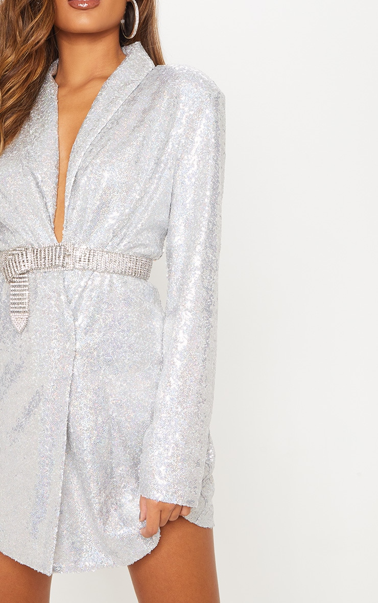 Silver Sequin Oversized Blazer Dress 7