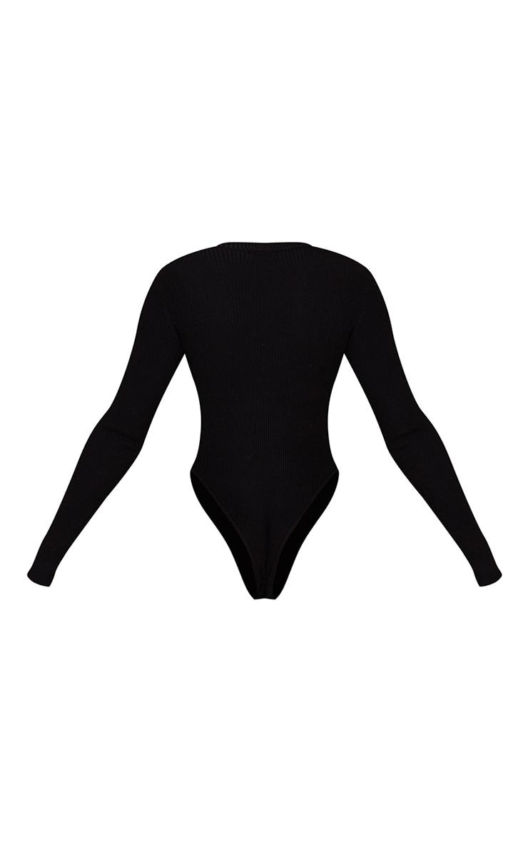 Black Ribbed Knitted Long Sleeve Bodysuit 6