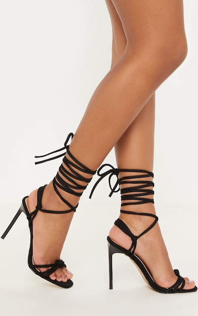 64cc28971ab8 Black Knot Lace Up Strappy Sandal