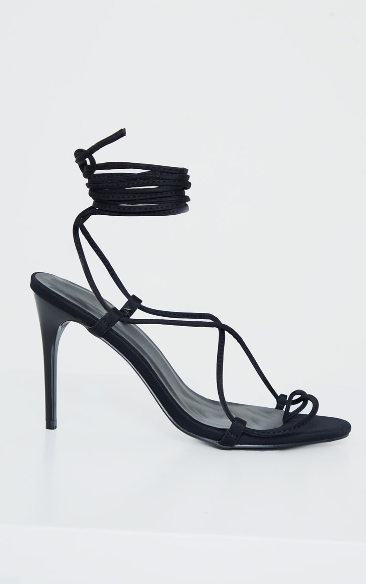 Black Lycra Ghillie Lace Up Sandal 3