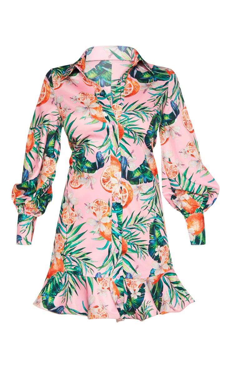 Petite - Robe chemise rose à imprimé feuilles 3