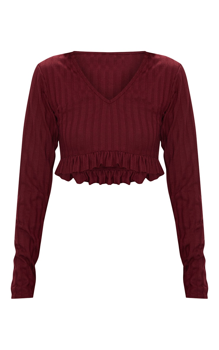 Burgundy Rib Knit Frill Hem Top 3
