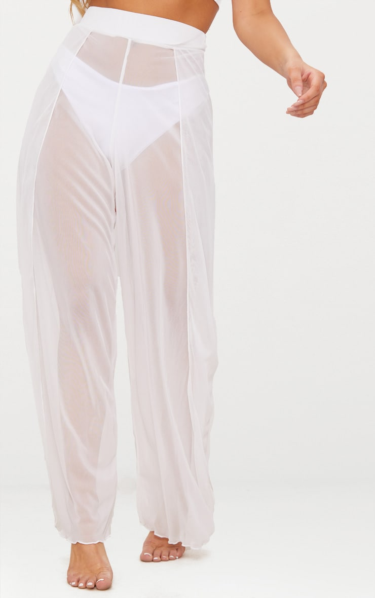 White Mesh Split Beach Trouser 2