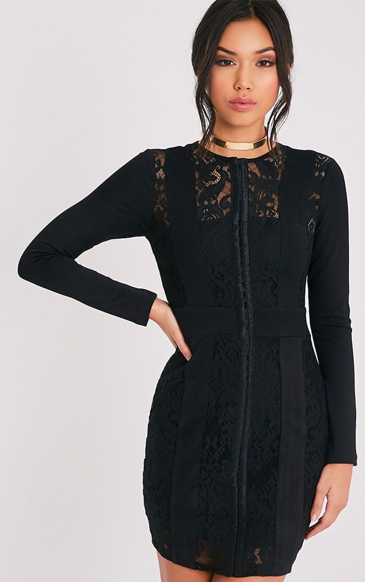 Issie Black Long Sleeve Lace Panel Bodycon Dress 1