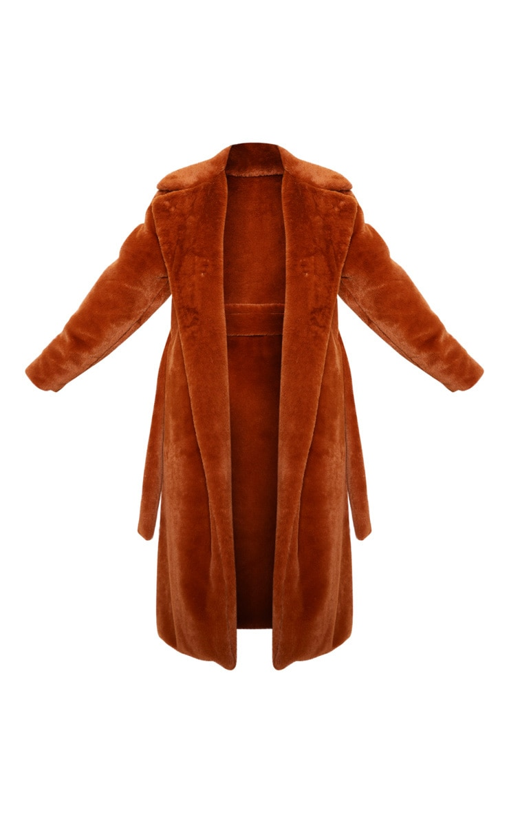 Petite Brown Belted Faux Fur Coat 3