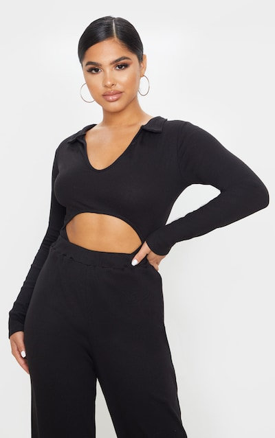 Petite Black Ribbed High Neck Cut Out Bodysuit