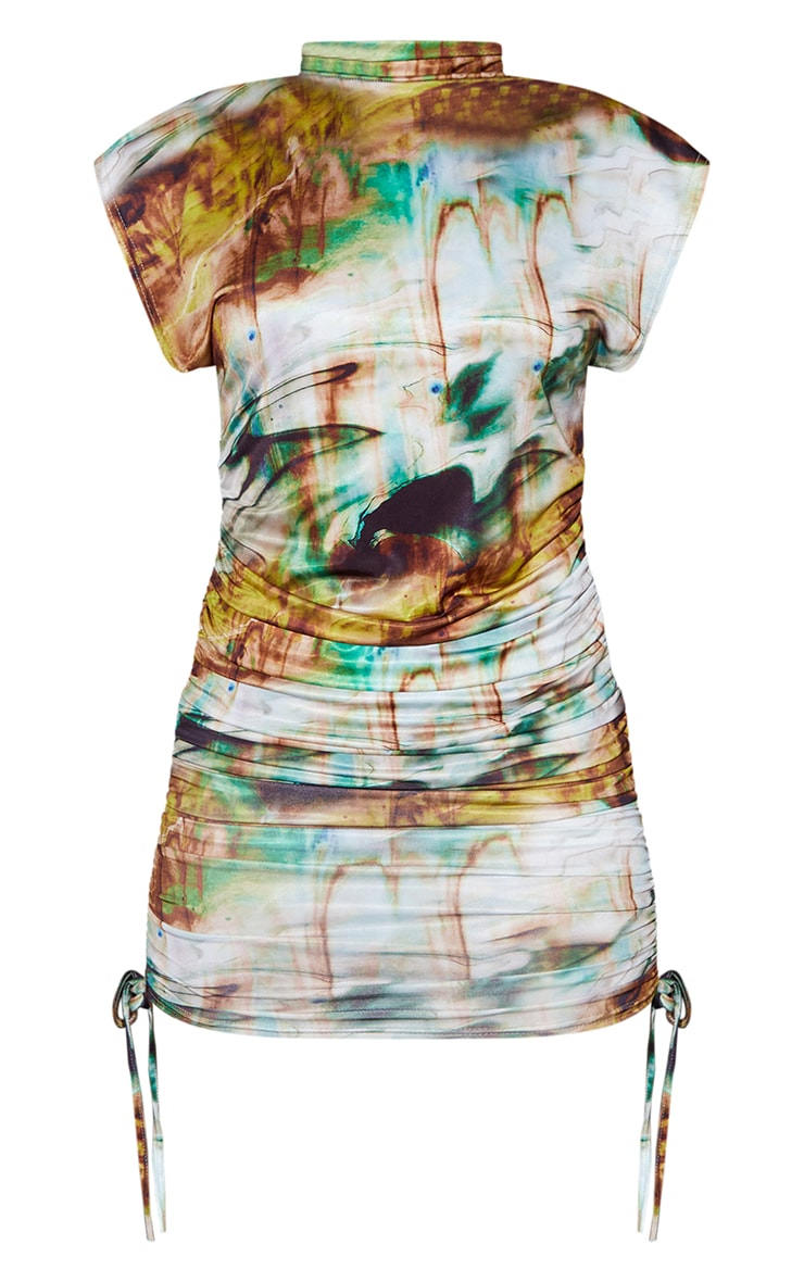 Green Marble Print Slinky Sleeveless High Neck Ruched Bodycon Dress 5
