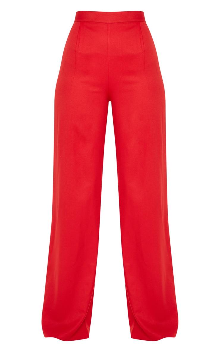 Red Wide Leg Woven Trouser 3