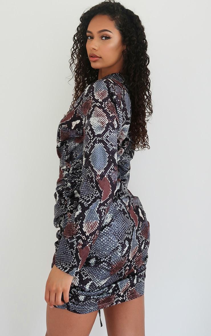 Grey Snake Print Woven Ruched Deep Plunge Blazer Dress 2