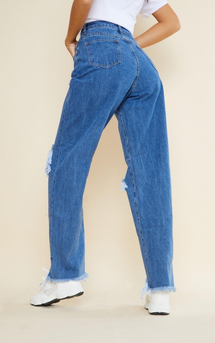 PRETTYLITTLETHING Tall Mid Blue Extreme Ripped Hem Boyfriend Jeans 3
