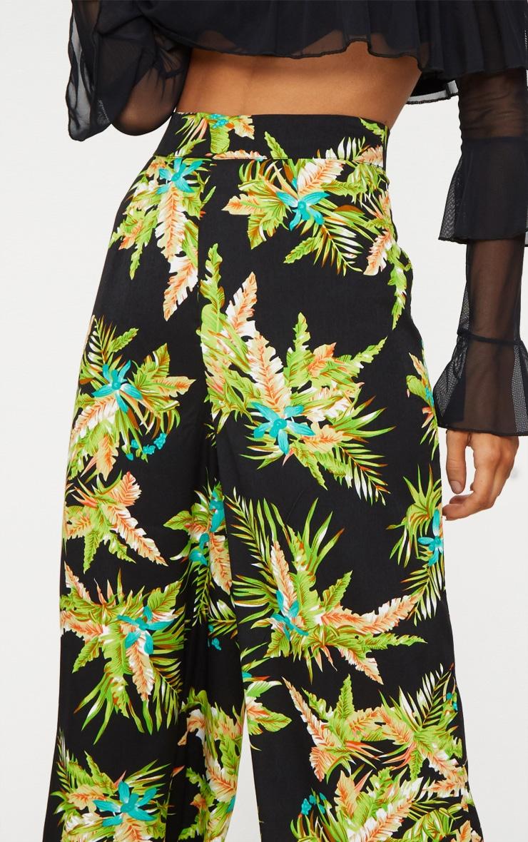 Black Tropical Print Wide Leg Trouser 5