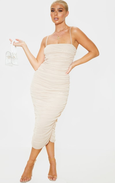 18cb1dfefee34 Nude Strappy Mesh Ruched Midaxi Dress