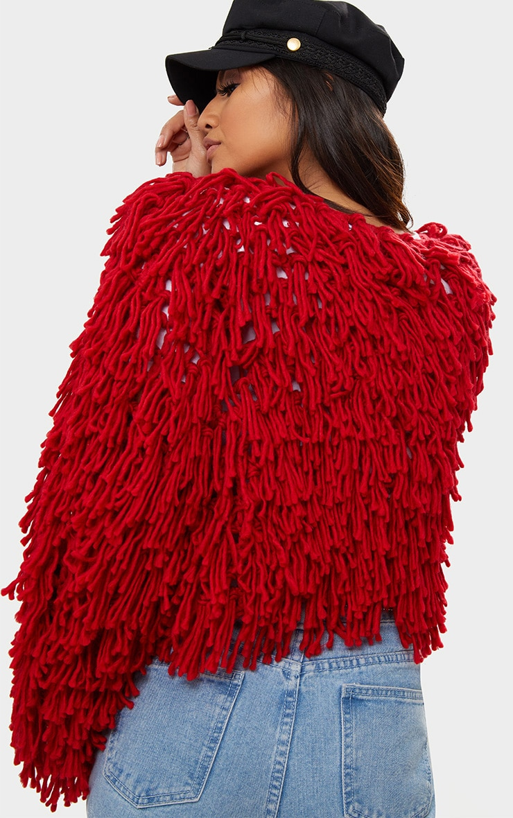Red Shaggy Knit Cropped Cardigan 2