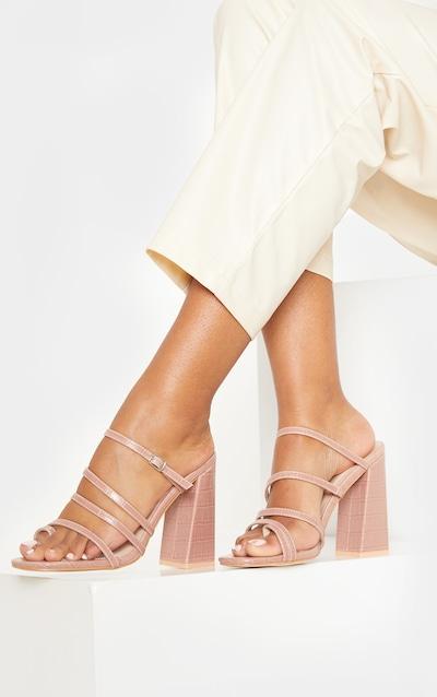 Blush High Block Heel Multi Strap Toe Loop Mule Sandal