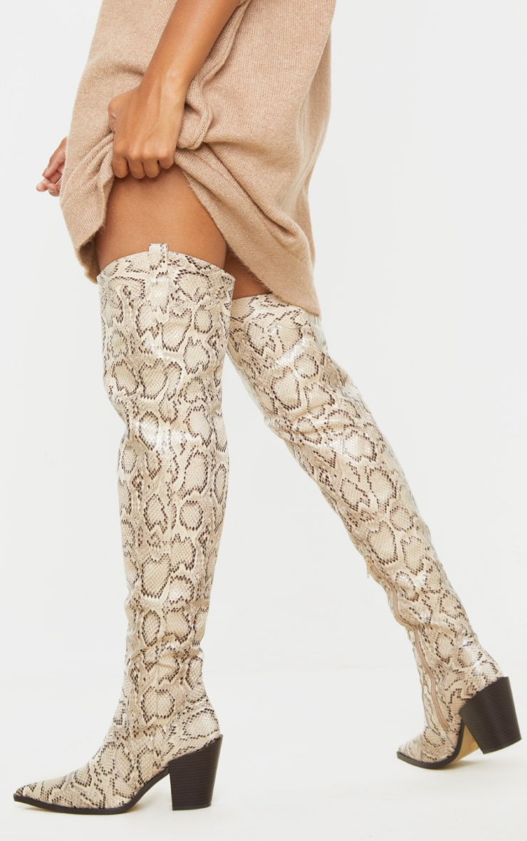 Beige Snake Over The Knee Western Heel Point Toe Boot 1