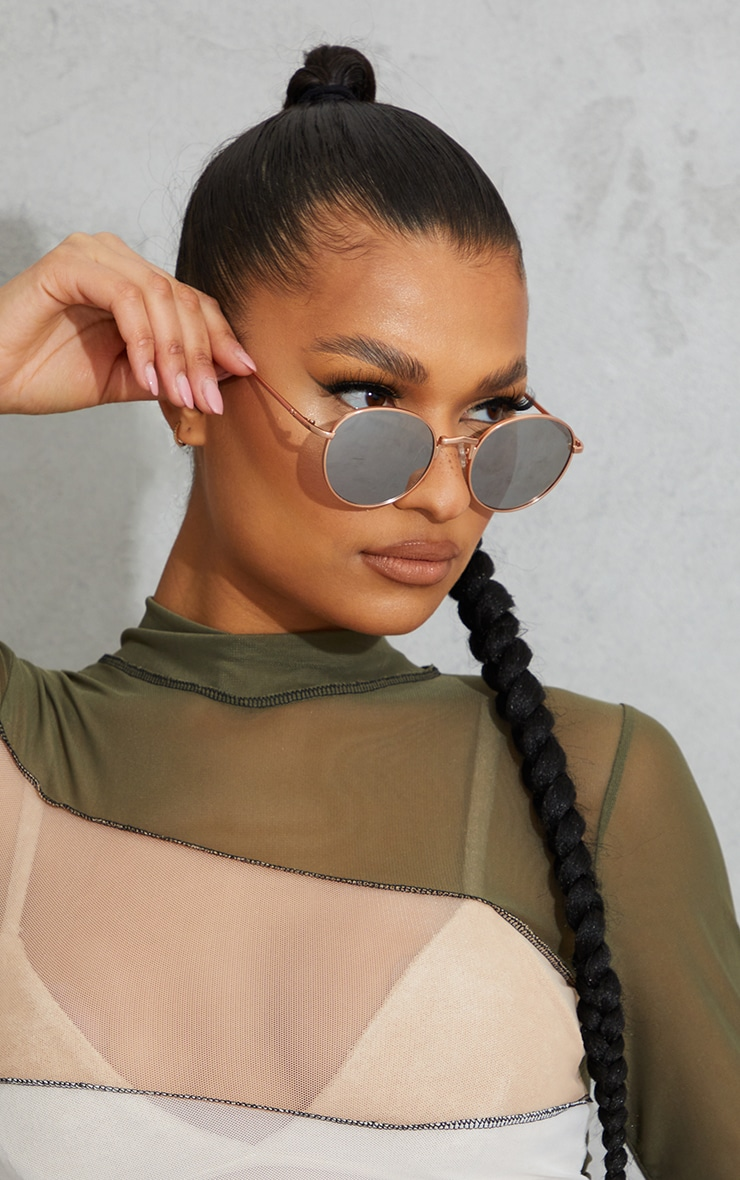 Jeepers Peepers Rose Gold Round Frame Sunglasses 1