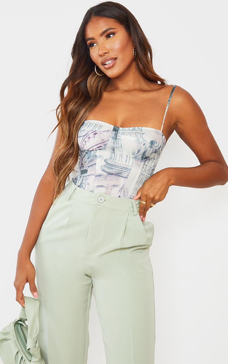 Stone  Abstract Renaissance Print Structured Corset Top 1