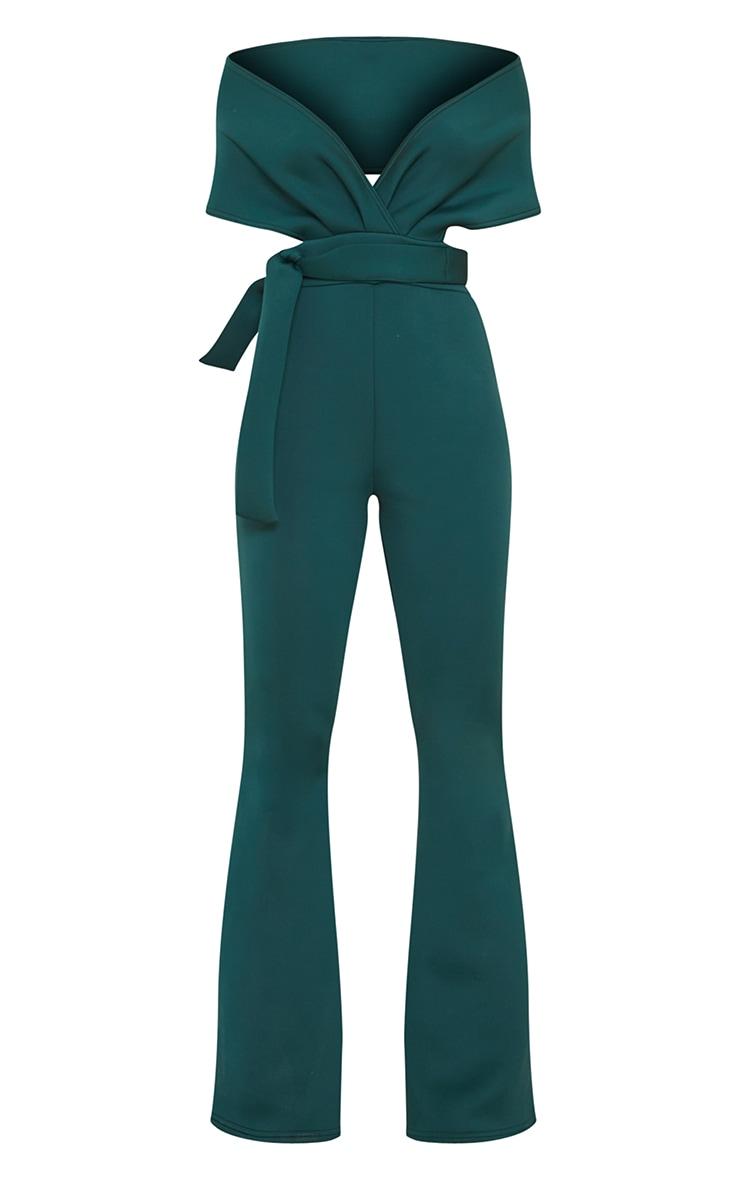 Emerald Green Bardot Flared Leg Scuba Jumpsuit 5