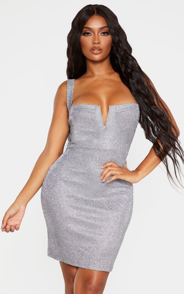 Shape Silver Glitter Cup Detailed Bodycon Dress 1