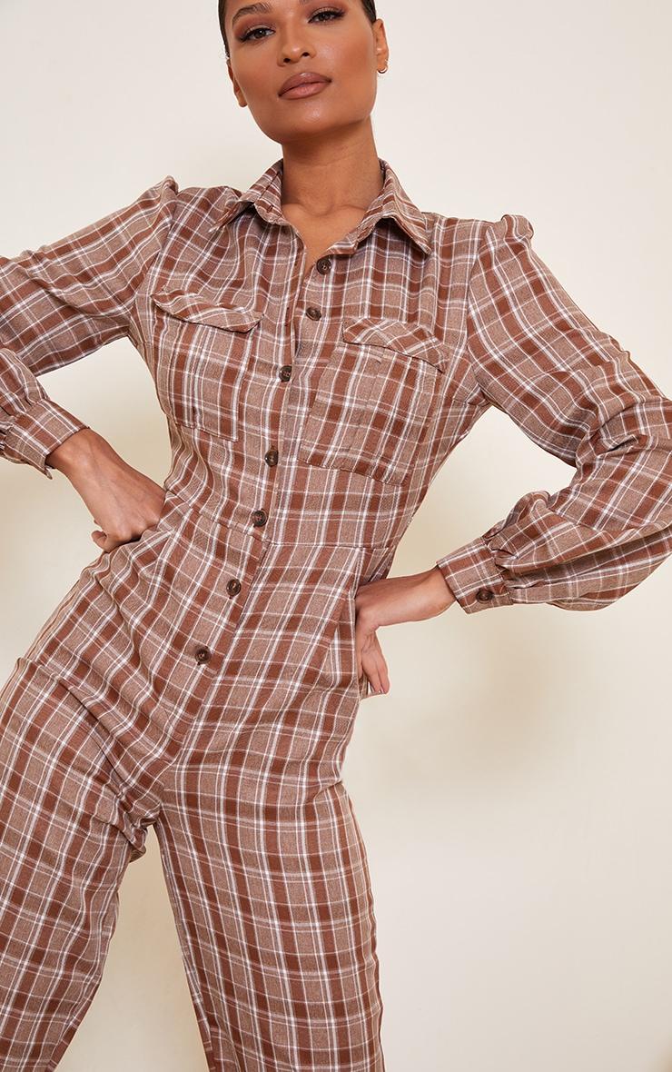 Brown Check Pocket Detail Shirt Jumpsuit 4