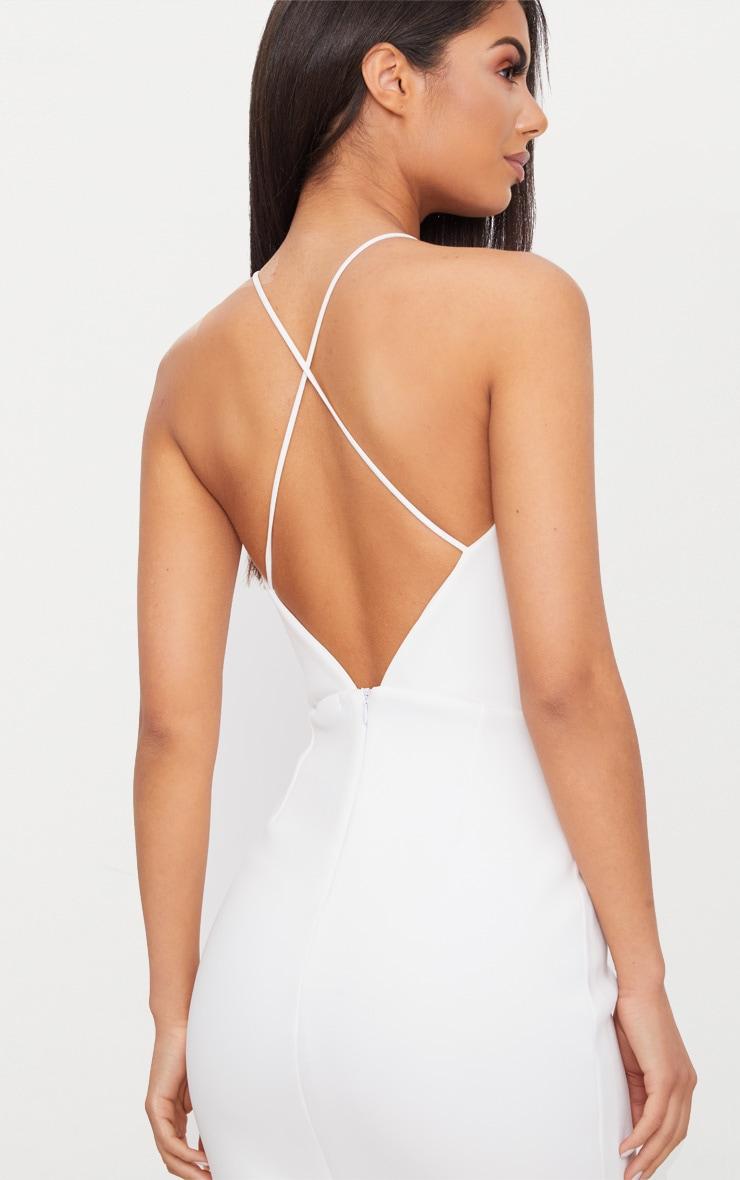 White Cross Back Fishtail Maxi Dress 4