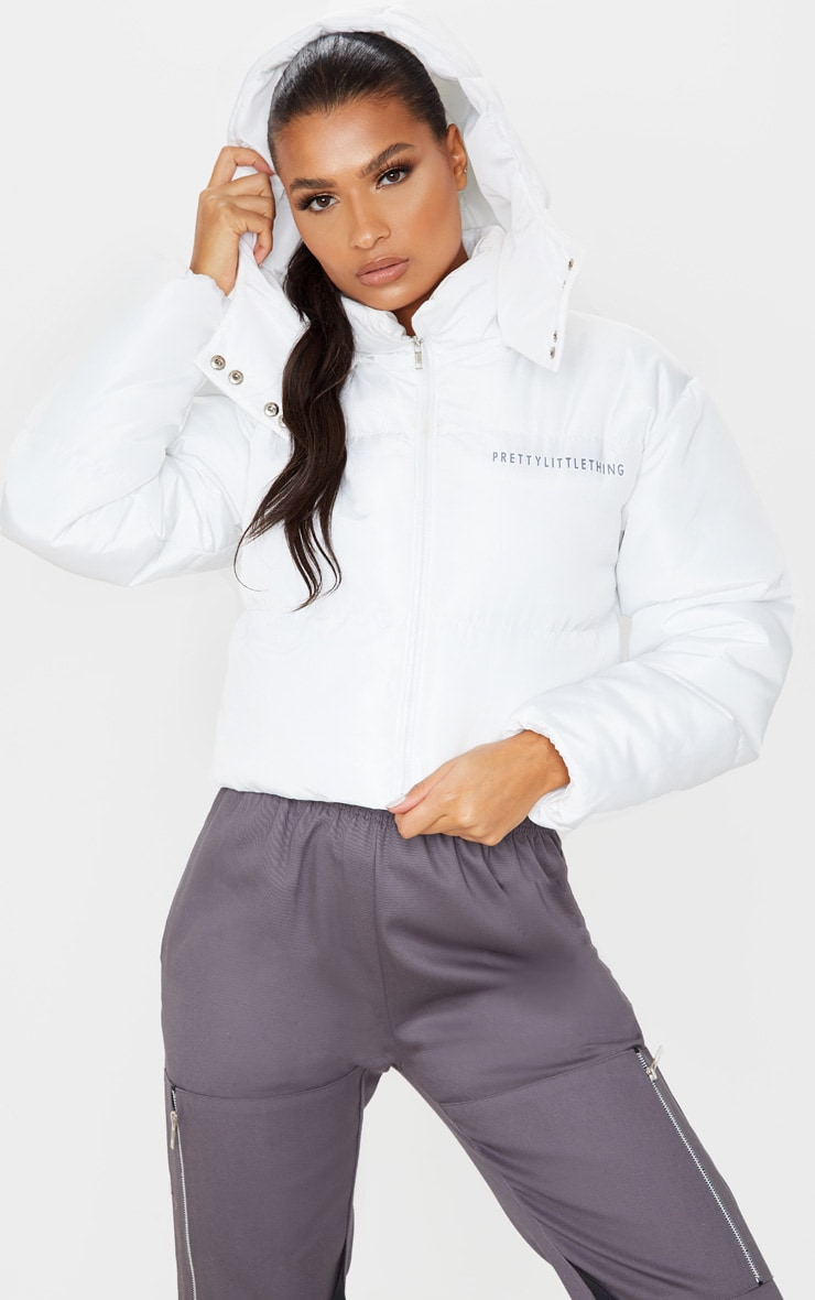 PRETTYLITTLETHING White Hooded Crop Puffer Jacket 1